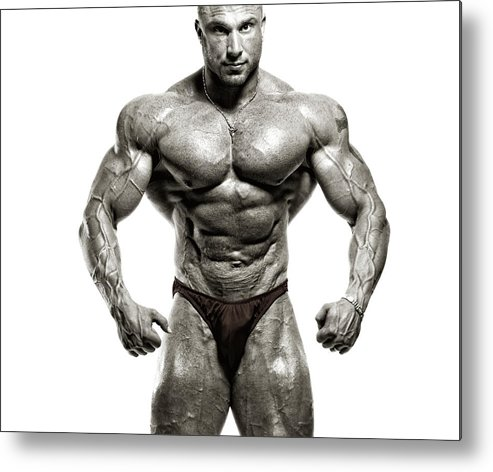 Abdominal Muscle Metal Print featuring the photograph Strong Male Model by Spanic