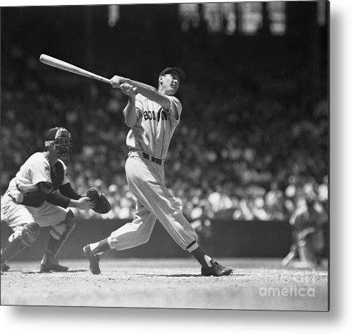 People Metal Print featuring the photograph Ted Williams Making A Hit by Bettmann