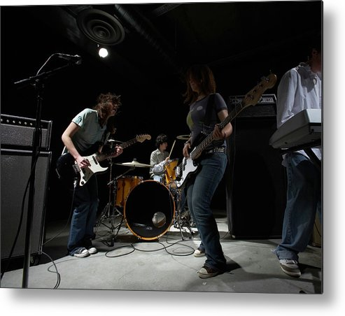 Cool Attitude Metal Print featuring the photograph Teenage 14-16 Band Playing Instruments by Thomas Northcut