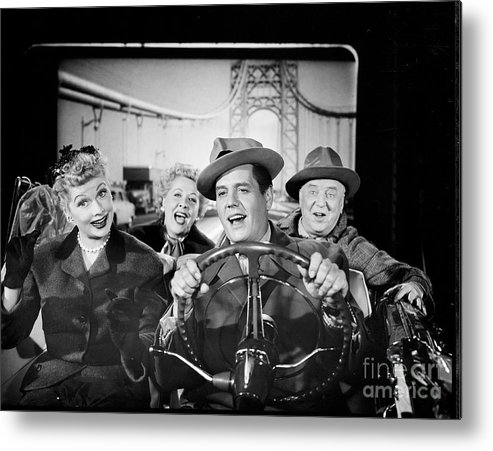 Fedora Metal Print featuring the photograph The Cast Of I Love Lucy by Cbs Photo Archive