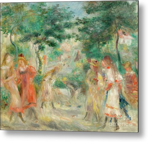 Oil Painting Metal Print featuring the drawing The Croquet Party Girls In The Garden by Heritage Images