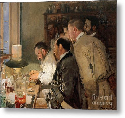 Oil Painting Metal Print featuring the drawing The Research. Artist Sorolla Y Bastida by Heritage Images