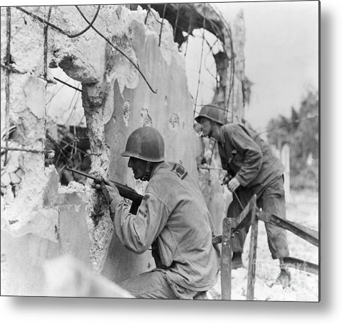 Rifle Metal Print featuring the photograph Two Soldiers With Rifles Behind Trees by Bettmann