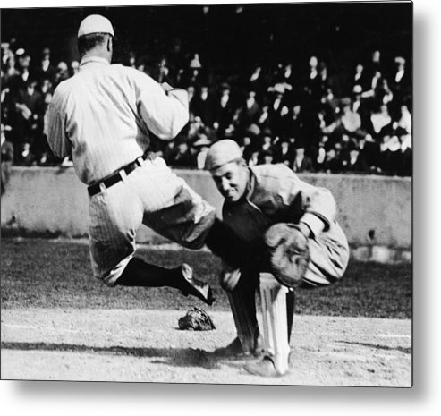 Baseball Catcher Metal Print featuring the photograph Ty Cobb Sliding Into Catcher by Pictorial Parade