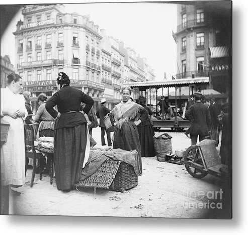 People Metal Print featuring the photograph View Of Vegetable Merchant by Bettmann