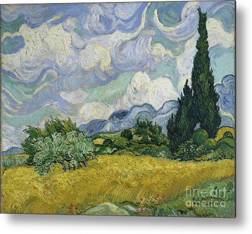 Oil Painting Metal Print featuring the drawing Wheat Field With Cypresses by Heritage Images