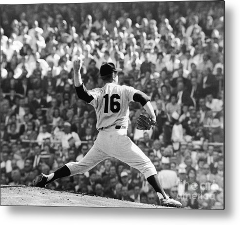 American League Baseball Metal Print featuring the photograph Whitey Ford Winds Up by Robert Riger