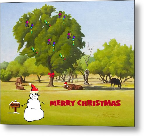 Christmas Card Metal Print featuring the painting Wimberley Pastoral Christmas Card by Gary Hernandez