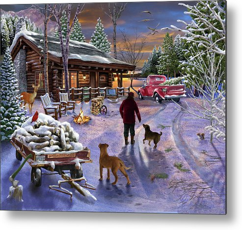 Winter Refuge Metal Print featuring the painting Winter Refuge by Bigelow Illustrations