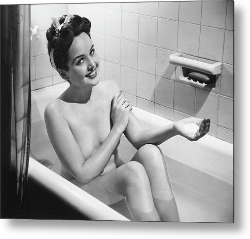 Human Arm Metal Print featuring the photograph Woman Bathing, B&w, Portrait by George Marks