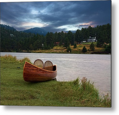 Tranquility Metal Print featuring the photograph Wood Canoe by Brad Mcginley Photography