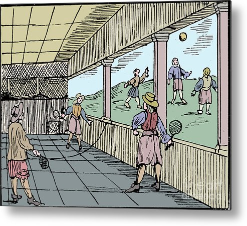 Tennis Metal Print featuring the drawing Young Men Playing A Form Of Tennis 16th by Print Collector