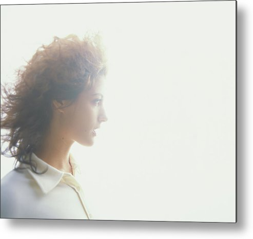 Beautiful Woman Metal Print featuring the photograph Young Woman, Profile Soft Focus by Thomas Barwick