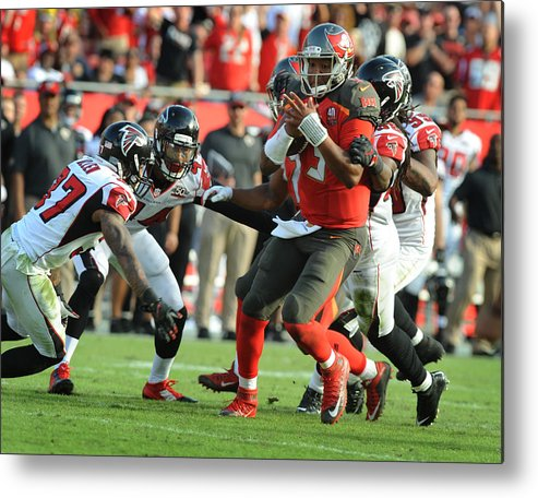 People Metal Print featuring the photograph Atlanta Falcons v Tampa Bay Buccaneers by Cliff McBride