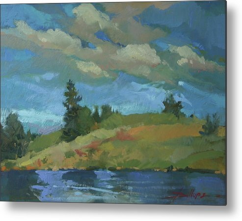 Plein Air Landscape Metal Print featuring the painting HayPress Lake by Betty Jean Billups