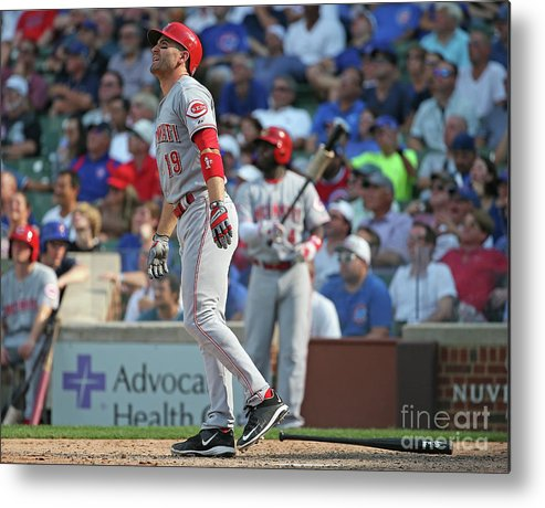 Following Metal Print featuring the photograph Joey Votto by Jonathan Daniel