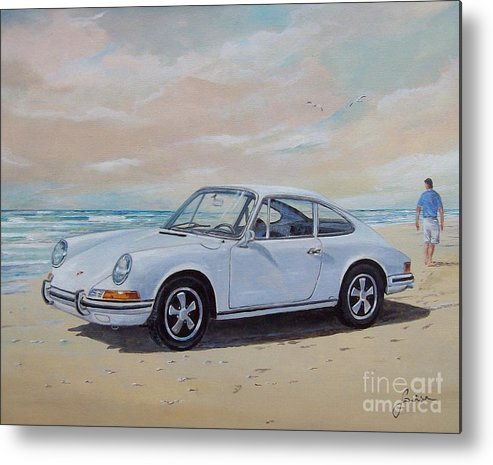 Automotive Art Metal Print featuring the painting 1967 Porsche 911 s coupe by Sinisa Saratlic