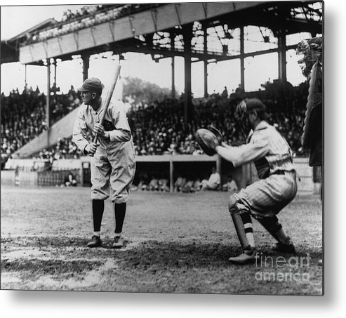 Baseball Catcher Metal Print featuring the photograph Ty Cobb by National Baseball Hall Of Fame Library