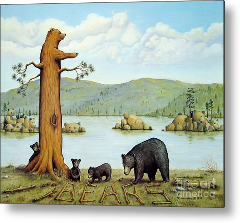 Bears Metal Print featuring the painting 27 Bears by Jerome Stumphauzer