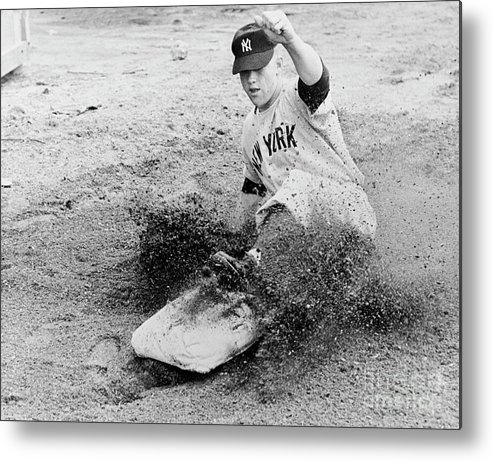 Dust Metal Print featuring the photograph Mickey Mantle by National Baseball Hall Of Fame Library