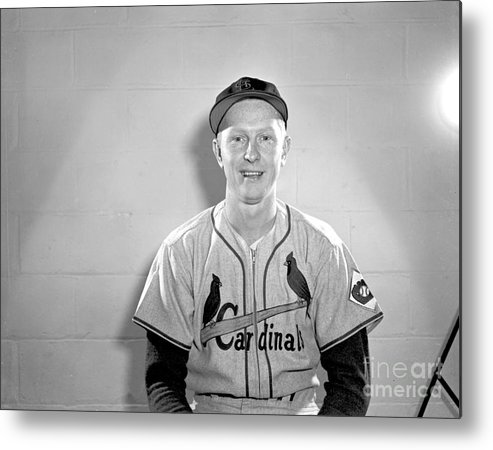St. Louis Cardinals Metal Print featuring the photograph Red Schoendienst by Kidwiler Collection