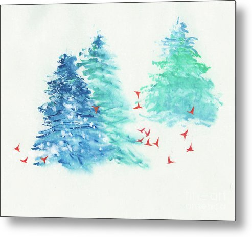 A Flock Of Happy Red Birds Gathers Around A Snowy Wood. It's A Simple Contemporary Chinese Brush Painting On Rice Paper. Metal Print featuring the painting A Happy Flock by Mui-Joo Wee