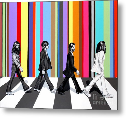 The Beatles Metal Print featuring the painting Abbey Road Technicolor by Amy Belonio