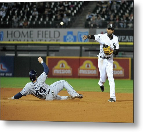 Ninth Inning Metal Print featuring the photograph Alexei Ramirez and Rene Rivera by David Banks
