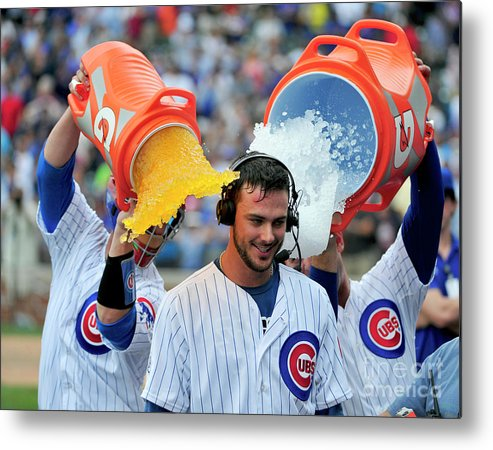 Ninth Inning Metal Print featuring the photograph Anthony Rizzo, David Ross, and Kris Bryant by David Banks