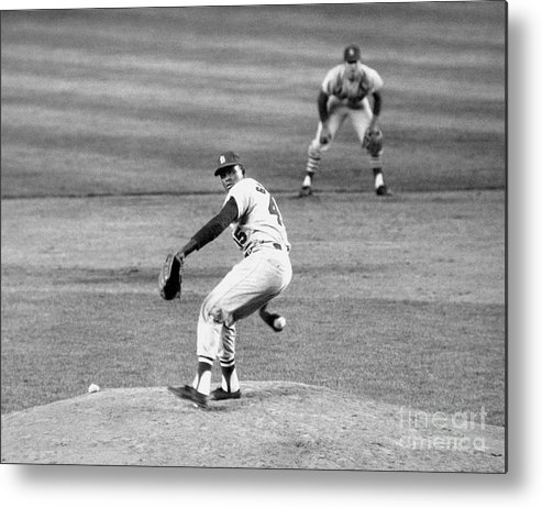 1950-1959 Metal Print featuring the photograph Bob Gibson by National Baseball Hall Of Fame Library