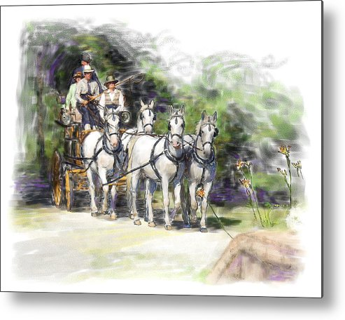 Horse Metal Print featuring the painting Coaching In Acadia- Carriage Driving Four In Hand by Connie Moses