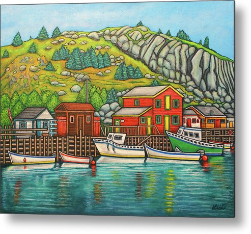 Colourful Metal Print featuring the painting Colours of Quidi Vidi, Newfoundland by Lisa Lorenz