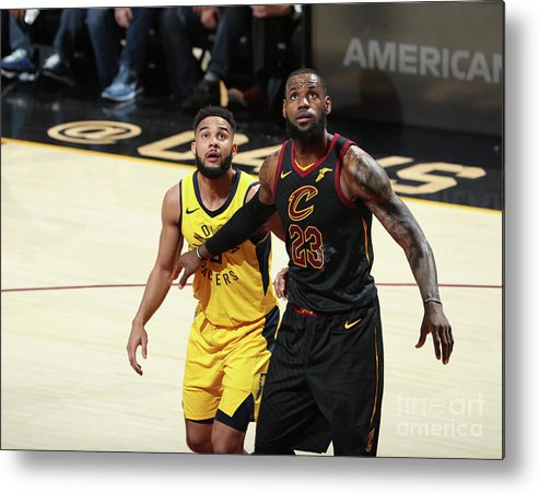 Playoffs Metal Print featuring the photograph Cory Joseph and Lebron James by Nathaniel S. Butler