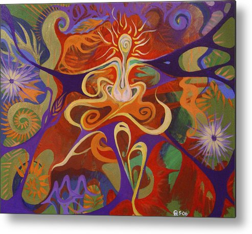 Woman Sitting In Flowy Colors - Meditative And Imaginative Metal Print featuring the painting Dance Of Color by Michelle Oravitz