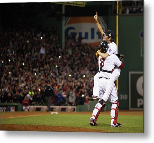 Playoffs Metal Print featuring the photograph David Ross and Koji Uehara by Brad Mangin