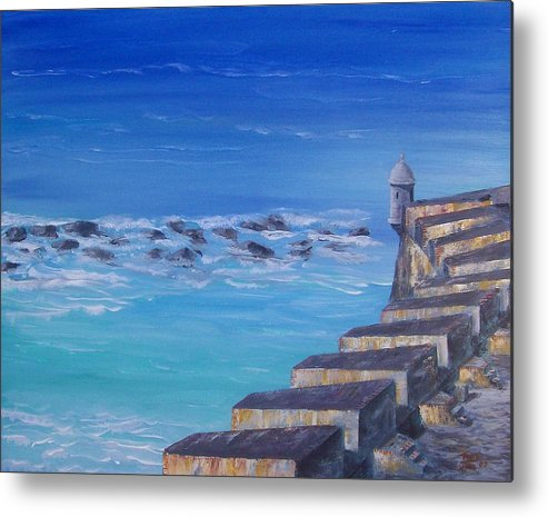 El Morro Fortress Metal Print featuring the painting El Morro Fortress by Tony Rodriguez