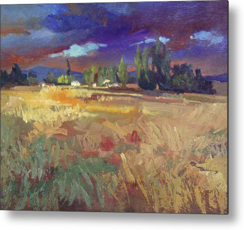 Autumn Paintings Metal Print featuring the painting Evening Autumn Fields by Betty Jean Billups