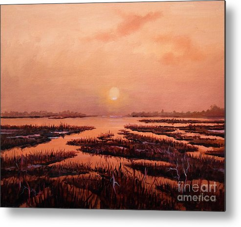 Marsh Metal Print featuring the painting Evening Time by Sinisa Saratlic