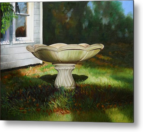 Concrete Fountain Metal Print featuring the painting Fall Afternoon by Gary Hernandez