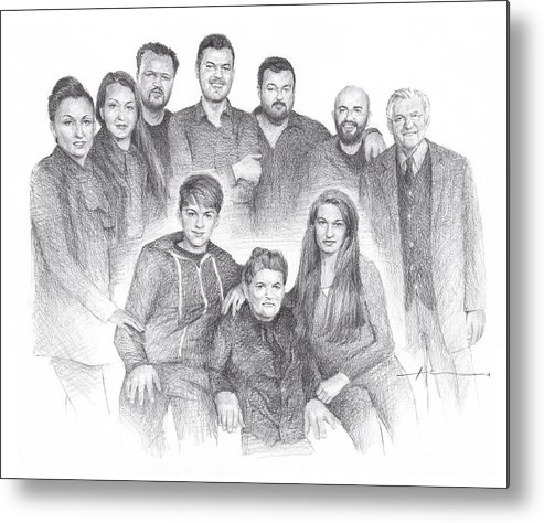 Www.miketheuer.com Family Reunion Pencil Portrait Metal Print featuring the drawing Family reunion pencil drawing by Mike Theuer