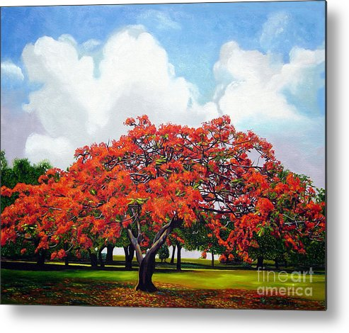 Cuban Art Metal Print featuring the painting Flamboyan by Jose Manuel Abraham