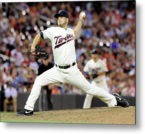 Ninth Inning Metal Print featuring the photograph Glen Perkins by Marilyn Indahl