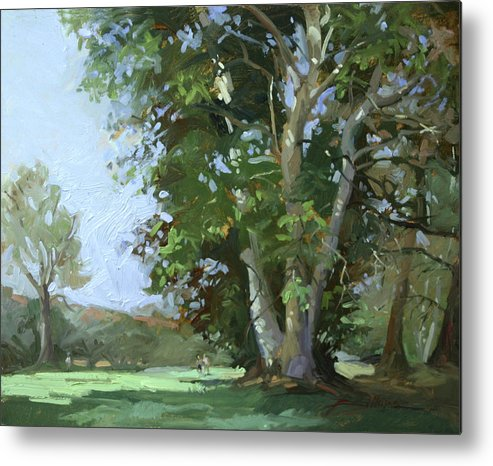 Golf Courses Metal Print featuring the painting Guardian of the Green by Betty Jean Billups