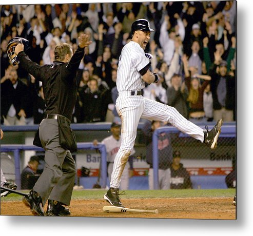 Game Two Metal Print featuring the photograph Hideki Matsui and Derek Jeter by Ezra Shaw
