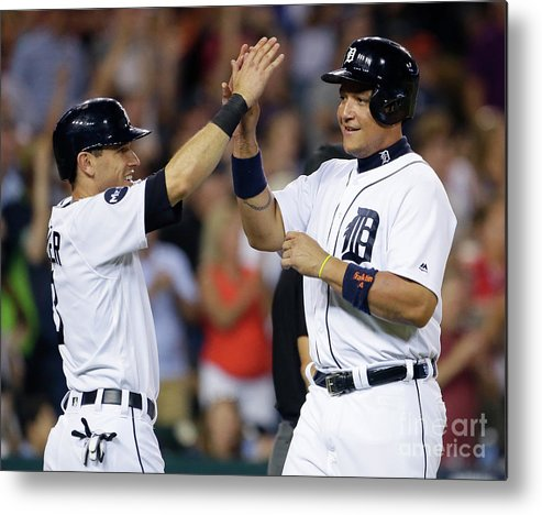 Three Quarter Length Metal Print featuring the photograph Ian Kinsler, Nick Castellanos, And Miguel Cabrera by Duane Burleson