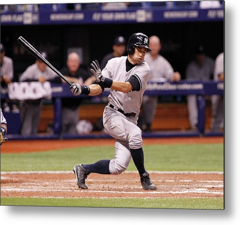 American League Baseball Metal Print featuring the photograph Ichiro Suzuki by Brian Blanco