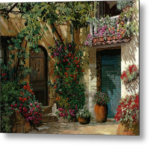 Landscape Metal Print featuring the painting Fiori In Cortile by Guido Borelli