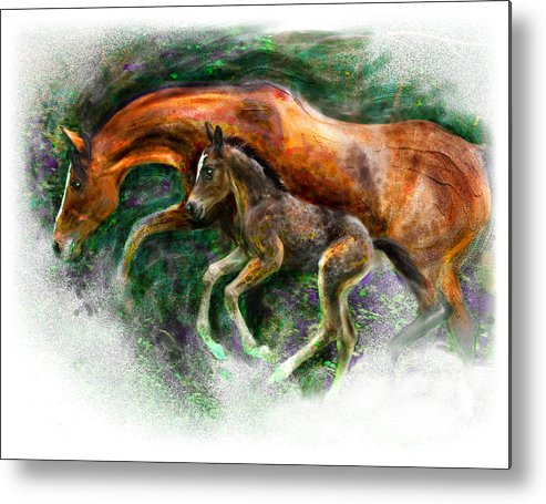 Horse Metal Print featuring the painting In Harmony Three Days Old Arabian Mare Running Foal by Connie Moses
