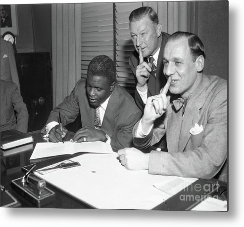 1950-1959 Metal Print featuring the photograph Jackie Robinson and Leo Durocher by Transcendental Graphics