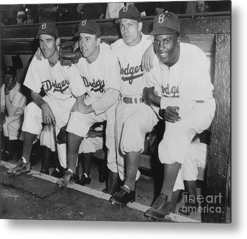 People Metal Print featuring the photograph Jackie Robinson and Pee Wee Reese by National Baseball Hall Of Fame Library